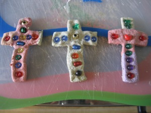 These crosses were made by kiddos in the Kindergarten/1st Grade Class