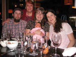 Tim (my son), Nora (other grandma), Me, Daniella (daughter-in-love). And I am holding Sofia (grand daughter).