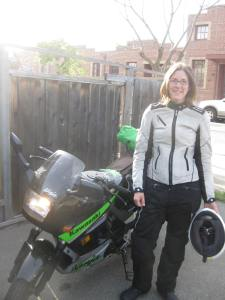 Elizabeth is all packed for her first motorcycle camping trip to Big Sur.