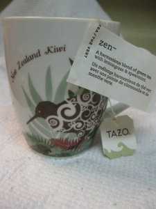 One of my favourite teas (Tazo Zen) in a mug I brought back from New Zealand.
