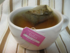 """Day 6 Tulsi Sweet Rose by Organic India. The tag says it is a """"sensuous blend of Tulsi and sweet Rose."""" And it is certified organic."""