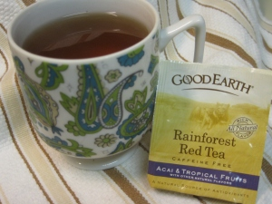 Day 4. Rainforest Red Tea by Good Earth. This red tea or (rooibos which is pronounced roy-bos) has guava and the Amazonian superfruit acai.