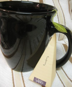 Day 6. Tea, Earl Grey, Hot. I made my cup using a pyramid tea bag by Tea forte. Such a cute bag.