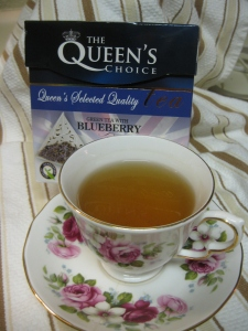 "Day 12. Green Tea with Nature Identical Blueberry Flavour by The Queen's Choice. I've never heard the phrase, ""Nature Identical Blueberry Flavour"" before. You?"