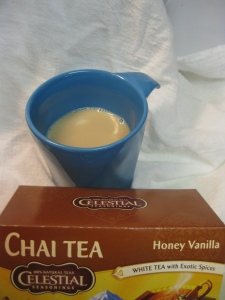 Day 19I am drinking Honey Vanilla Chai Tea today. This tea is a blend of white and black teas and assorted spices. Smells and tastes yummm.