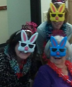 Us birthday gals were some pressies. The masks are one of them. I am the one in the white mask.