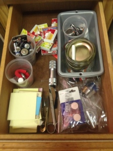 Day 22 - This is the after look of spending 62 minutes sorting. . . . Sorry, I didn't think to take a before picture. . . . I did't buy new organizing containers, just used what I had. And I think it looks great.
