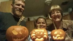 Jeremy, Bip and Susan (me) showing off our carved creations.